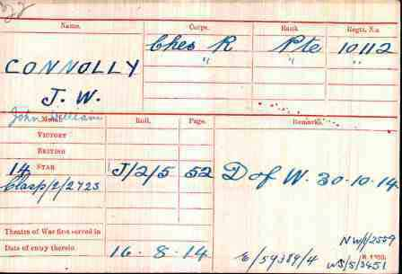 Pt Connolly's Medal Index Card