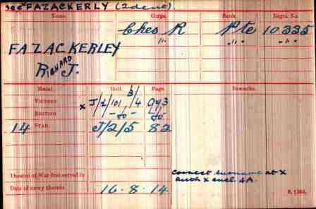 Pt Fazackerly's Medal Index card