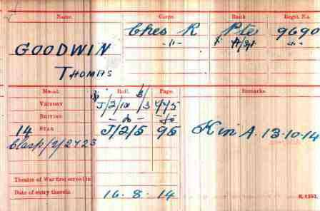 Cpl Goodwin's Medal Index Card