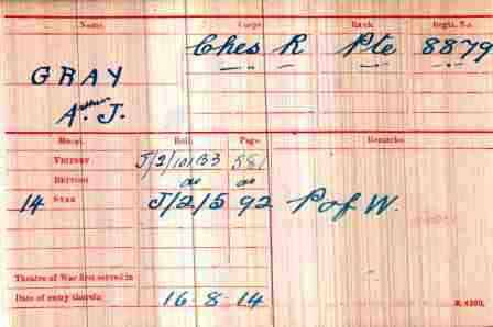 Pt Gray's Medal Index Card