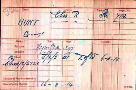 Pt Hunt's Medal Index Card