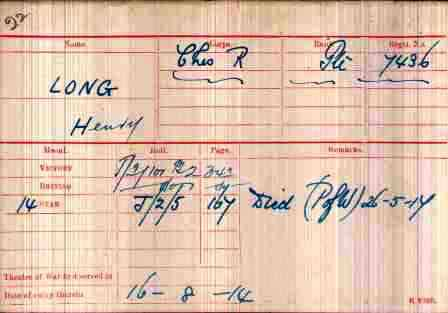 Cpl. Long's Medal Index Card