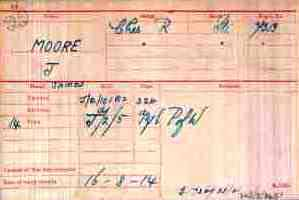 Pt Moore's Medal Index Card