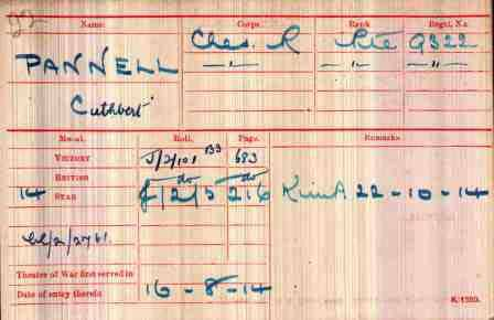 Pt Pannell's Medal Index Card