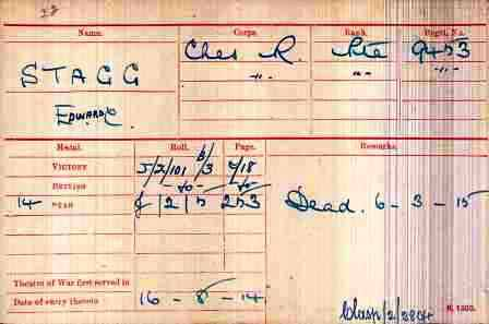 Cpl Smith's Medal Index Card