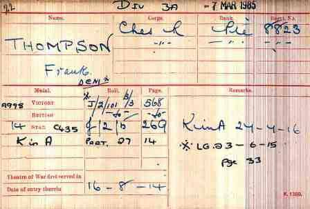 Pt Thompson's Medal Index Card