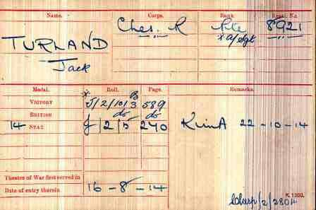 Sgt Turland's Medal Index Card