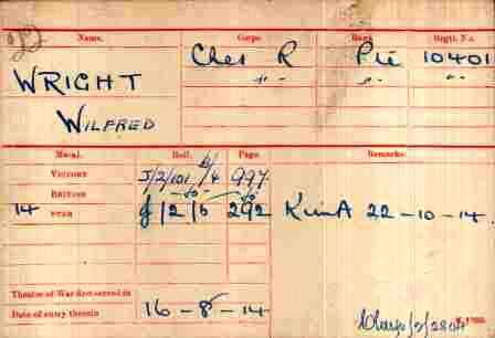 Pt Wright's Medal Index card