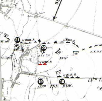 Cheshire's position at Le Cateau
