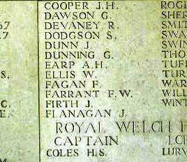 Pt Firth's name on Le Touret Memorial