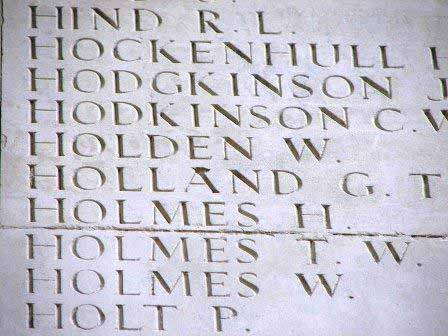 Pt Holden's name on the Thiepval Memorial