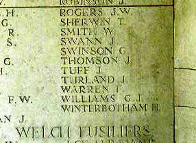 Sgt Turland's name on Le Touret Memorial