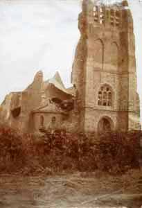 Wulvergem Church after shellfire